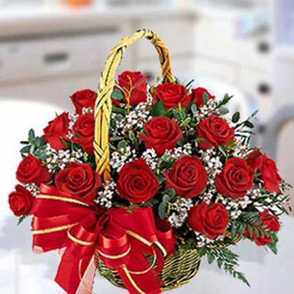 Red Roses Arrangement in Basket