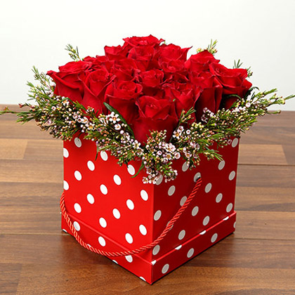 16 Red Roses In A Cardboard Box