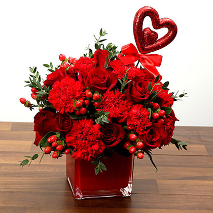 Red Roses and Carnations Vase