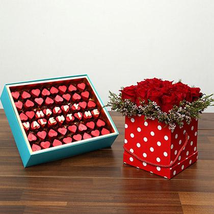 Heart Shaped Belgium Chocolates and 16 Roses Combo