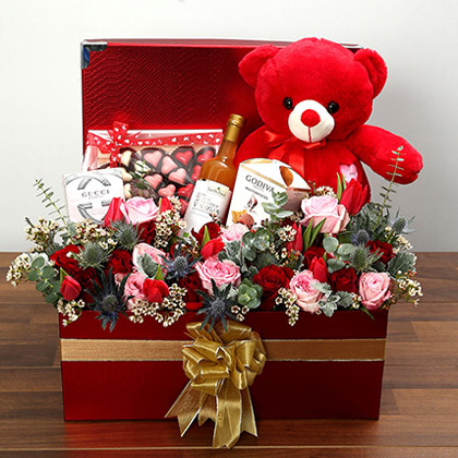 Delightful Hamper With Red Teddy Bear