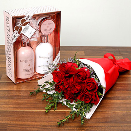 Red Roses and Grooming Kit Combo