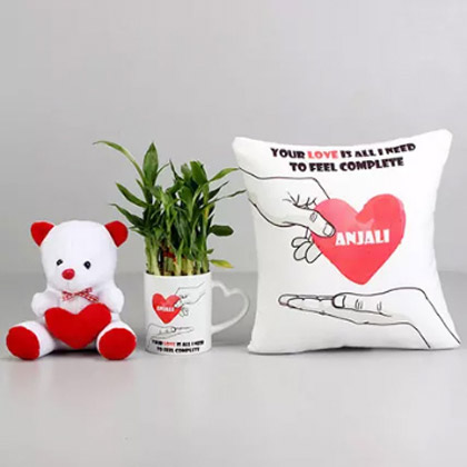 Love Is All I Need Personalised Cushion and Mug Combo