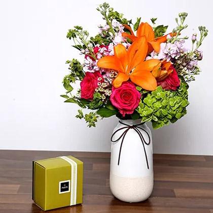 Vivid Mixed Flower Vase and Chocolates