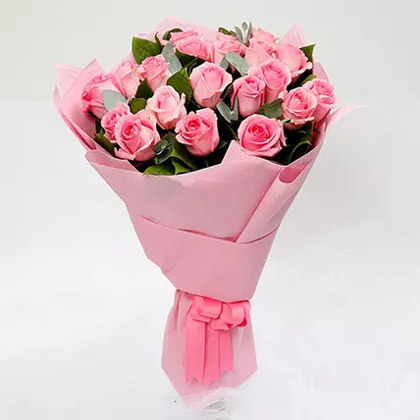 Passionate 20 Pink Roses Bouquet