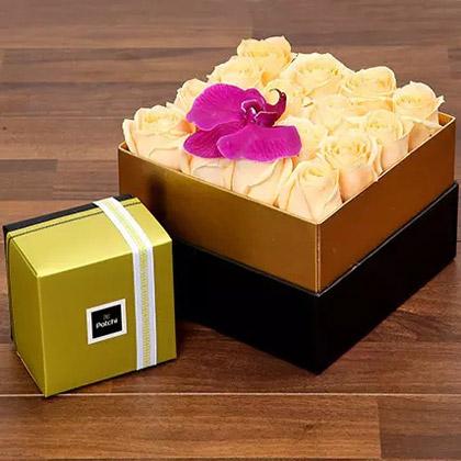 Beautiful Peach Rose Box and Patchi Chocolates