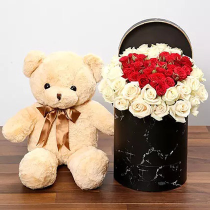 Peach and Red Rose Box With Teddy Bear