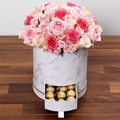 Stylish Box Of Pink Roses and Chocolates