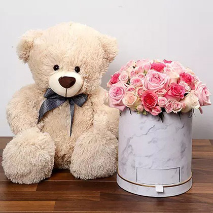 Stylish Box Of Pink Roses With Chocolates and Teddy