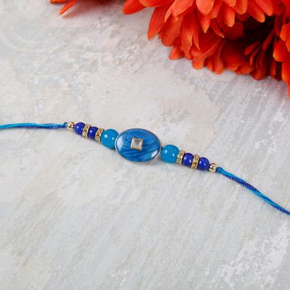 Elegant Blue Beads Rakhi