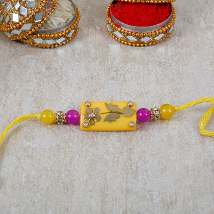 Bright Yellow Rectangle Rakhi