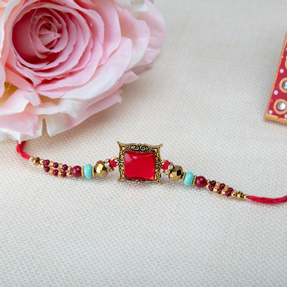 Graceful Red Stone Rakhi
