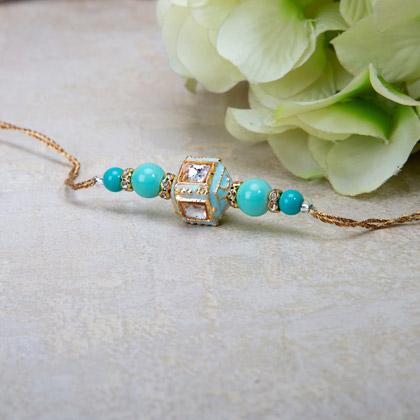 Ravishing Blue Beads Rakhi