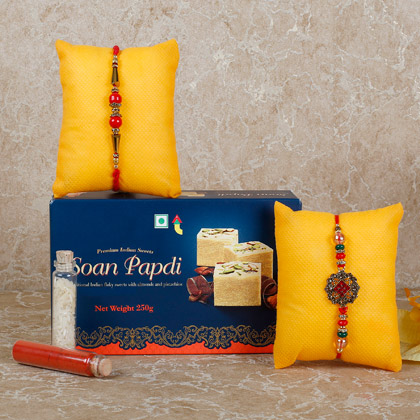 Set Of 2 Rakhis And Soan Papdi