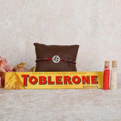 Toblerone Swastika Rakhi Combo
