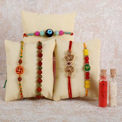 Set Of 5 Wonderful Rakhis